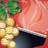 Christmas Piano Jazz. Cool piano jazz, holly and ornaments usher in the holidays in this fun, retro-modern illustration design. This trumpet piece is useful in a Royalty Free Stock Photography
