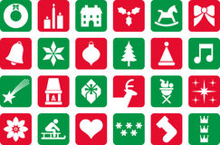Christmas pictograms. Several Christmas pictograms in red and green Stock Photography