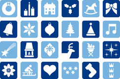 Christmas pictograms. Several Christmas pictograms in different tones of blue Royalty Free Stock Photography