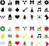 Christmas pictograms. Several Christmas pictograms in color and in black and white Royalty Free Stock Photos