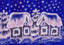 Christmas picture on blue background Royalty Free Stock Image
