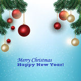 Christmas picture with fir branches Royalty Free Stock Image