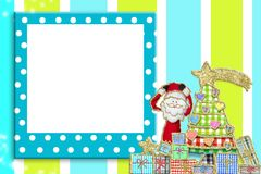 Christmas picture frame for children or babies. Cute Christmas tree and Santa Claus, funny blank  frame with polka dots Royalty Free Stock Images