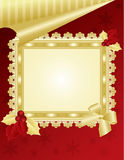Christmas picture frame on red wall. Christmas & New-Year's greeting card, red and gold background with lace, illustration, , placed on red wall Stock Photography