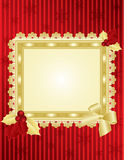 Christmas picture frame on red wall. Christmas & New-Year's greeting card, red and gold background with lace, illustration, , placed on red wall Royalty Free Stock Photo