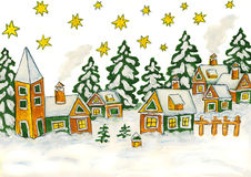 Christmas picture in green and yellow colours stock photo