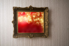 Christmas picture in grunge frame Royalty Free Stock Photos