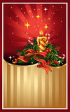 Christmas picture post card with candle light Stock Photos