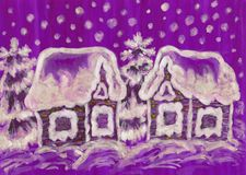 Christmas picture on purple background Stock Photography
