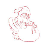 Christmas picture: Santa Claus with a bag of gifts, contours eps10 Stock Photography