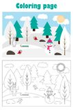 Christmas picture with snowy forest in cartoon style, xmas winter coloring page, education paper game for the development of vector illustration