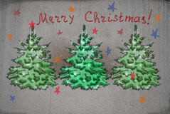 Christmas picture on a stone wall Royalty Free Stock Image