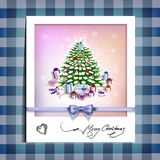 Christmas picture on the table cloth Royalty Free Stock Photos