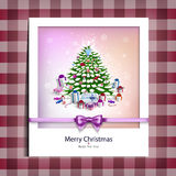 Christmas picture on the table cloth Stock Image