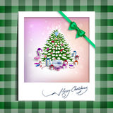 Christmas picture on the table cloth Royalty Free Stock Images