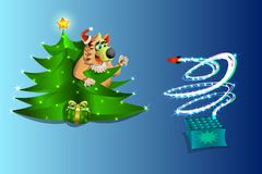 New year , the dog is watching the fireworks from under the Christmas tree , on blue background , illustration and vektr. Christmas picture with Christmas tree Royalty Free Stock Photo