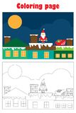 Christmas picture withSanta on the roof in cartoon style, xmas coloring page, education paper game for the development of children stock illustration