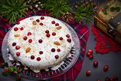 Christmas pie with cranberries and almonds Stock Photography