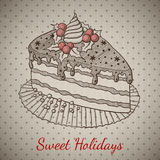 Christmas pie in sketch style. Royalty Free Stock Images