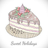 Christmas pie in sketch style. Stock Photos