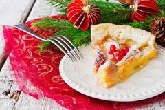 Christmas piece of apple pie Royalty Free Stock Photos