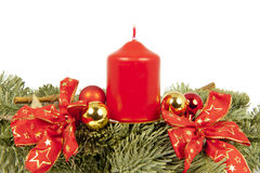 Christmas piece ribbon balls candles Stock Photography