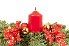 Christmas piece ribbons balls candle Stock Photography