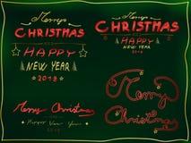 Christmas 4 piece text set, hand-drawn font stock illustration
