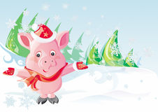 Christmas Pig. In snow mountain stock illustration