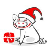 Christmas pig Stock Photography