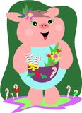 Christmas Pig with Gift Basket Royalty Free Stock Photo