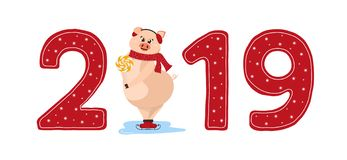 Cute pig character. 2019 New Year symbol. Christmas pig 2019 in red. The logo, emblem, sign 2019. Happy New year posters, banners, greeting. Shy pig stand on ice vector illustration