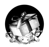 Christmas pig`s head in a festive cardboard box with a bow on his head climbs out of the hole. The front part of the double-sided pattern, sketch vector royalty free illustration