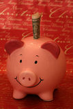 Christmas Piggybank with american dollar Royalty Free Stock Photo