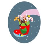 Christmas piglet vector symbol year old new year. Picture for postcard Stock Images