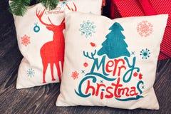 Christmas pillow for decoration. Two Christmas pillow for decoration on sofa royalty free stock image