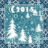 Christmas pillow white lace 2015 year ornament on blue Stock Image