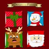 Christmas pillows. Colorful Christmas cartoon pillows vector Royalty Free Stock Photo