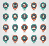 Christmas pin map icon. Holiday objects collection Royalty Free Stock Photos