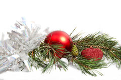 Christmas pine branch with decorations Royalty Free Stock Photo