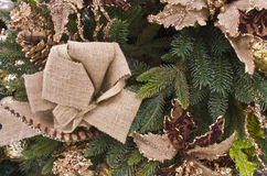 Christmas Pine and Burlap. For Wallpaper or Background stock photos