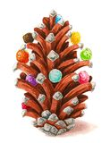 Christmas pine cone with softballs isolated on white hand drawn illustration royalty free illustration