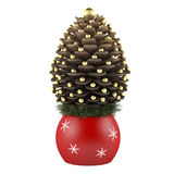 Christmas pine cone spruce decorated isolated Stock Image