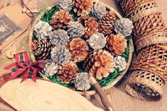 Christmas pine cone, Xmas card,  Noel message Royalty Free Stock Image