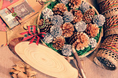 Christmas pine cone, Xmas card,  Noel message Stock Images