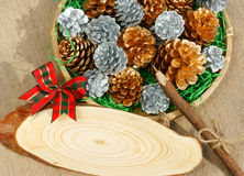 Christmas pine cone, Xmas card,  Noel message Royalty Free Stock Photography