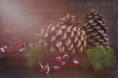 Christmas Pine Cones Decorations Royalty Free Stock Photos