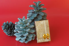 Christmas pine cones and gift box Royalty Free Stock Photo