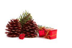 Christmas Pine Cones, Presents Stock Photo
