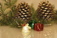 Christmas pine cones. And toys Stock Photos